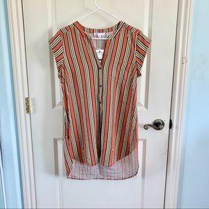 (NWT) DR2 | Orange Vertical Stripe Hi-Lo Tunic Top